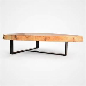 free form wood coffee table blackened metal base With free form wood coffee table