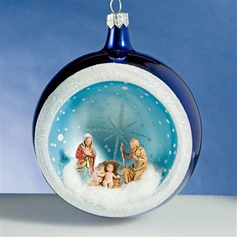 de carlini blue round nativity christmas ornament the