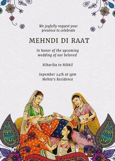 mehndi  raat invitation invites