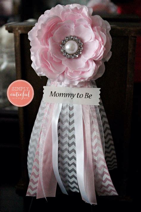 Baby Shower Pins For Corsages Pink Grey Chevron Baby Shower Corsage With To Be