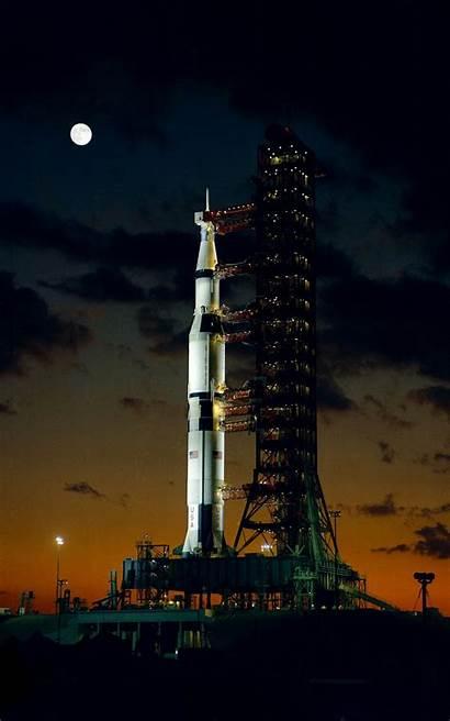 Nasa Rocket Saturn Launch Apollo Portrait Night