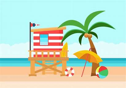 Beach Lifeguard Background Illustration Vector Tower Clipart