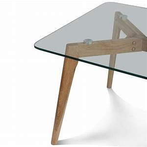 Table Basse Bois Et Verre : table basse design en verre et bois 110x60x45cm fiord trendy homes ~ Teatrodelosmanantiales.com Idées de Décoration