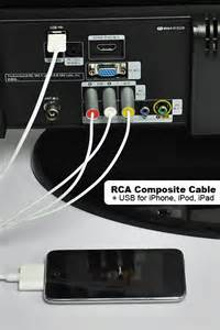 connect iphone to tv rca composite cable cord usb for iphone ipod