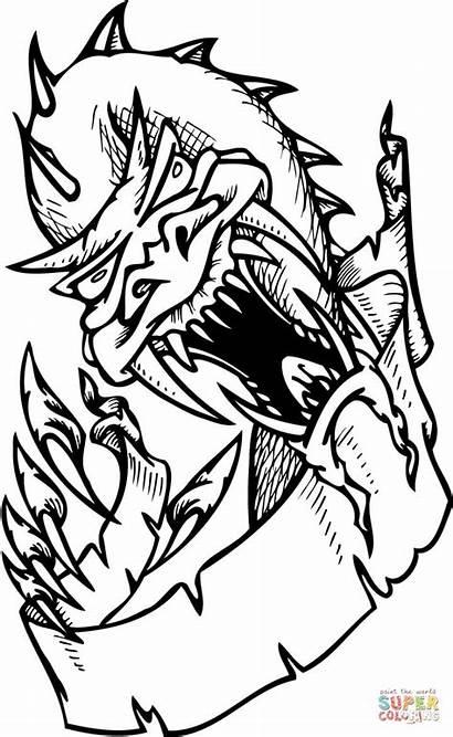 Dragon Coloring Scary Smok Kleurplaten Drache Kleurplaat