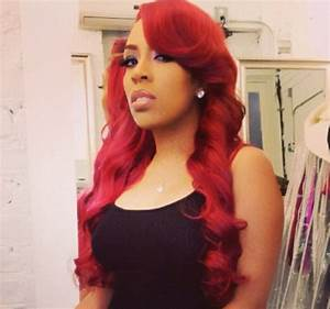 K Michelle With Fire Red Hair And Purple Eye Paint This