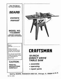 Craftsman 113 226640 Owner S Manual