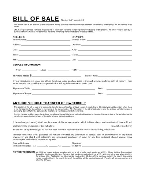 what is a bill of sale form sle vehicle bill of sale form kansas free download
