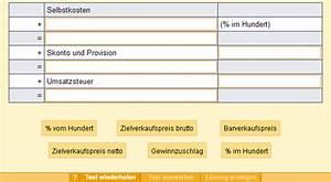 Zielverkaufspreis Berechnen : wissens berpr fung ~ Themetempest.com Abrechnung