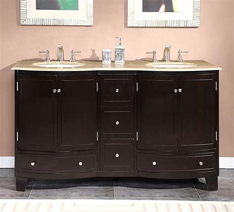 60 Inch Double Sink Bathroom Vanity With Travertine