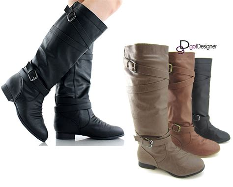 womens motorcycle riding boots with heels new women 39 s knee high slouch motorcycle riding boots shoes