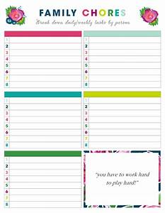 Household Roster Template Free Printable Weekly Chore Charts