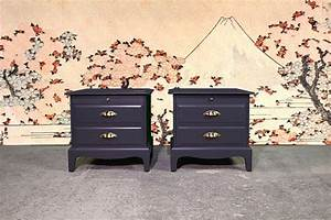 Pair, Of, Stag, Bedside, Tables, In, Off, Black