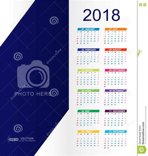 2018 Calendar With Place For Copy Space And Photo Stock