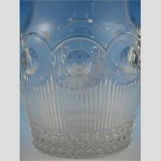 Eapg Manhattan Pattern Bulbous Pitcher, Us Glass Co