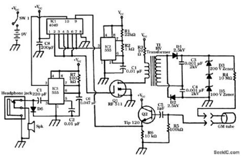 Geiger Counter Circuit Measuring Test
