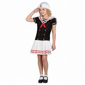 Girls Retro Sailor Girl Uniform Cute Kids Fancy Dress Play Time Party Costume