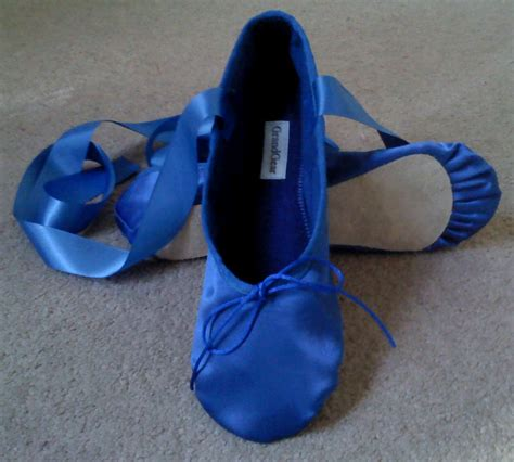 royal blue satin ballet shoes full sole  split sole