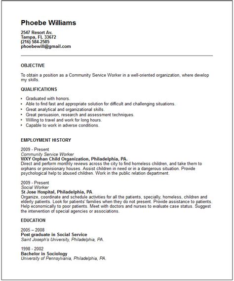 Community Service Resume Template by Community Service Resume Exle Free Templates Collection