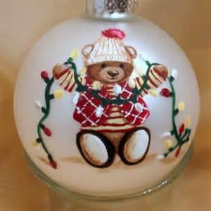 personalized ornament with handpainted teddy teddiart seasonal on artfire
