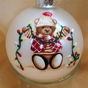 Personalized Christmas Ornament with Handpainted Teddy