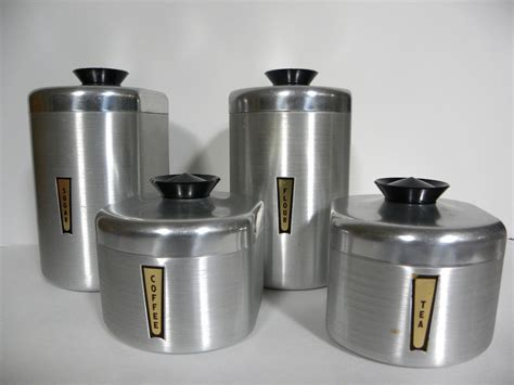 antique canisters kitchen vintage aluminum kitchen canister set complete by redrubyretro