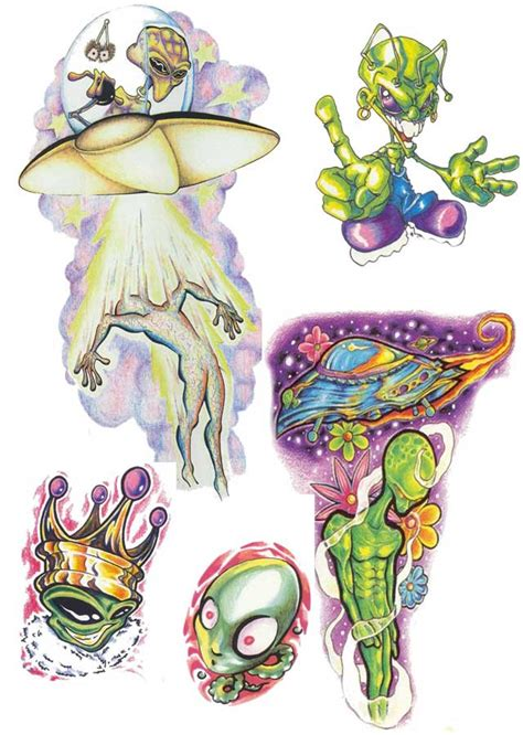 colored alien tattoo designs