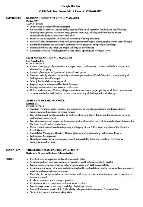 assistant retail manager resume sles velvet