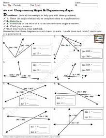Vertical Supplementary and Complementary Angle Worksheet