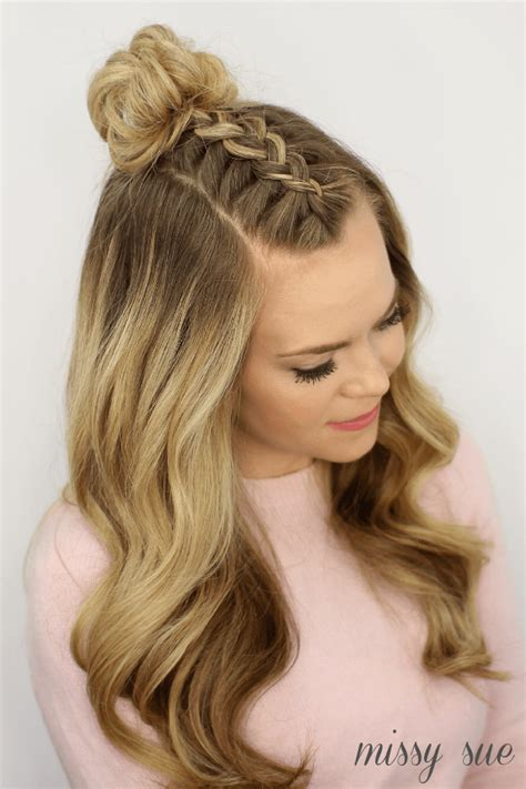 mohawk braid top knot hairstyle braided