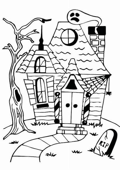 Coloring Haunted Pages Mansion Spooky Vampire Bat