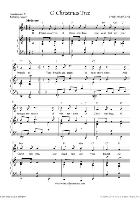 Solo, piano & vocal and piano.easy (format.pdf). O Christmas Tree Piano Sheet Music Easy with Lyrics PDF