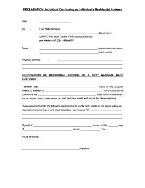 fnb proof  residence fill  printable fillable
