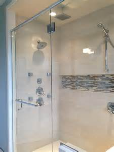 bathroom glass tile designs chrome corner shower with built in shower niche for soap storage and ceramic wall tile