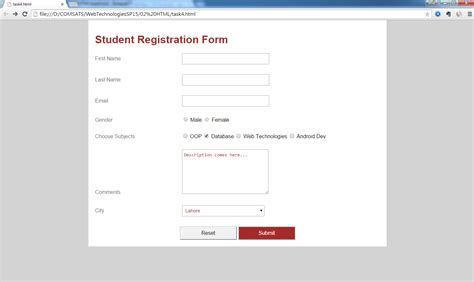 student registration form using html and css java ustaad