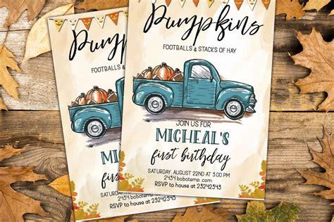Blue Truck Birthday Invitation Autumn Harvest Halloween