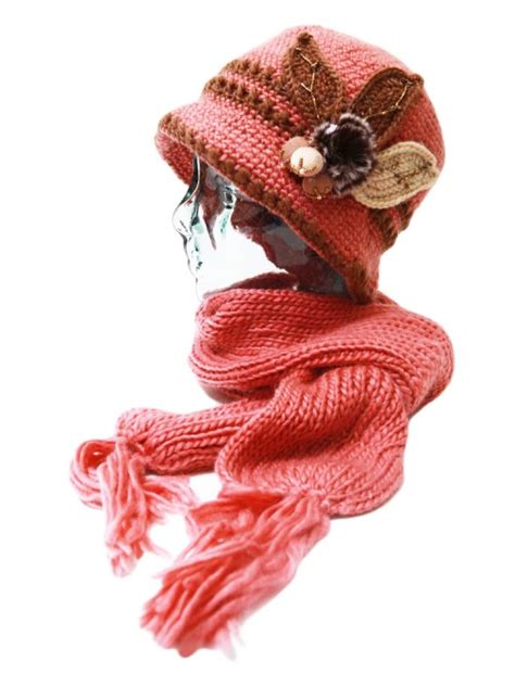 handmade knitted warm fleece lined flower ladies hat