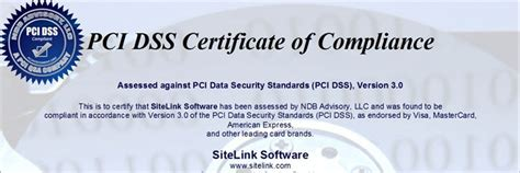 pci dss level  security certification sitelink news