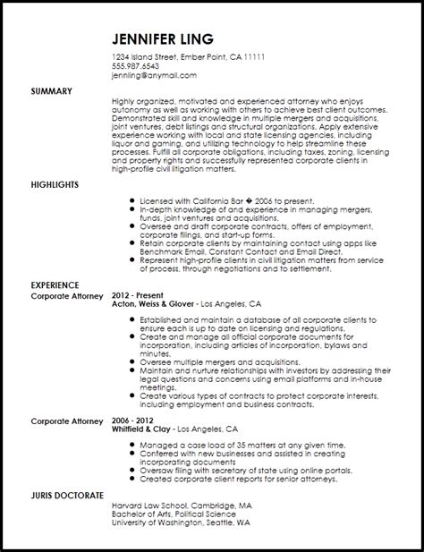 Attorney Resume Sles by Free Contemporary In House Lawyer Resume Template Resumenow