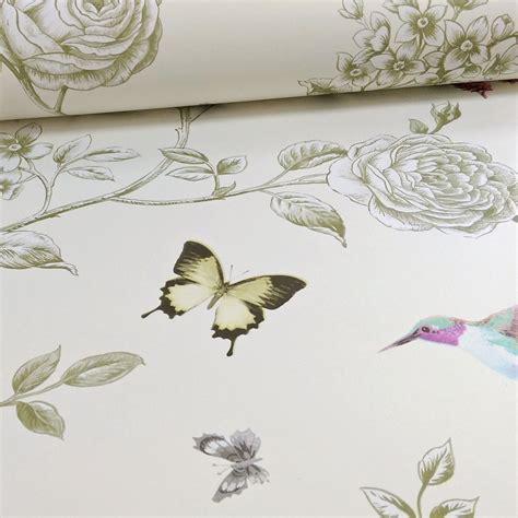 grandeco rose garden bird butterfly floral motif wallpaper
