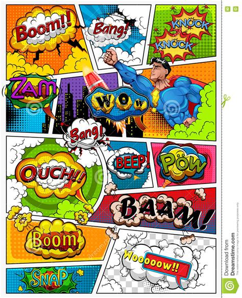 Comic Book Page Divided By Lines With Speech Bubbles