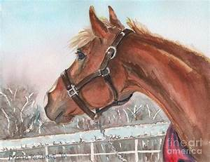 Horse Head Painting In Watercolor Painting by Maria's
