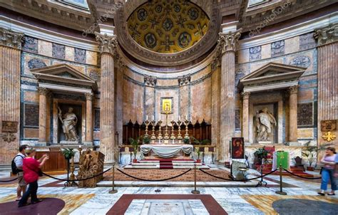 interno roma all interno pantheon roma italia foto editoriale