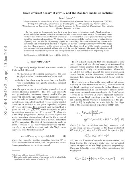 (PDF) Scale invariant theory of gravity and the standard