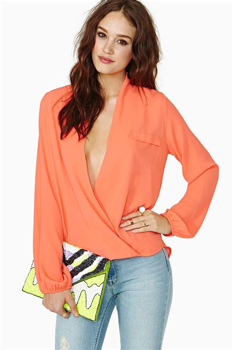the blouse gal chandler wrap blouse in poppy lyst