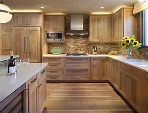 White, Oak, Kitchen, With, Wooden, Tile, Backsplash