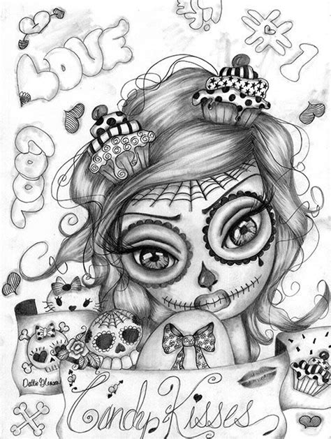 Candy kisses | Sugar skull girl, Skull girl tattoo, Drawings
