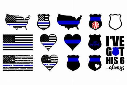 Svg Police Flag Line Thin Cricut Svgs