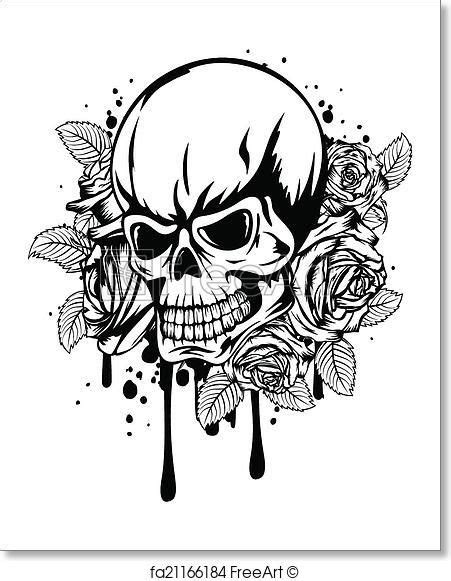 Free art print of Skull roses | Skull coloring pages