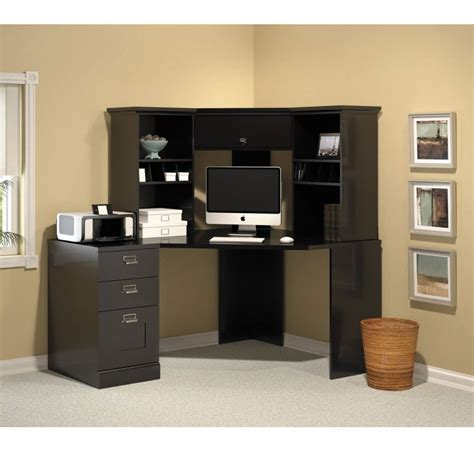 Corner Desk Black : Some Ideas Wooden Corner Desk Kitchen